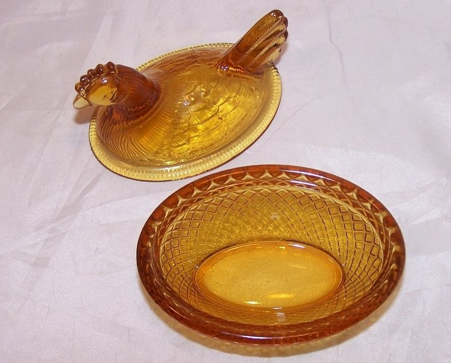 Image 4 of 3 Inch Yellow Glass Chicken in a Basket Covered Dish