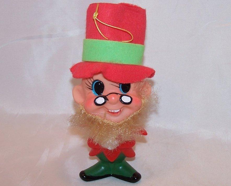 Red Dwarf, Elf, Gnome Plastic Doll, Ornament Vintage