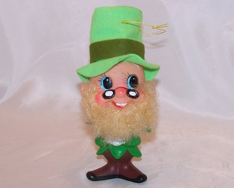 Christmas Dwarf, Elf Plastic Green Ornament Vintage