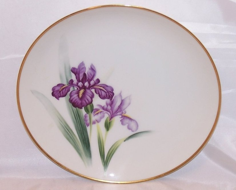 8 Inch Purple Iris Salad Plate, Sango China, Occupied Japan