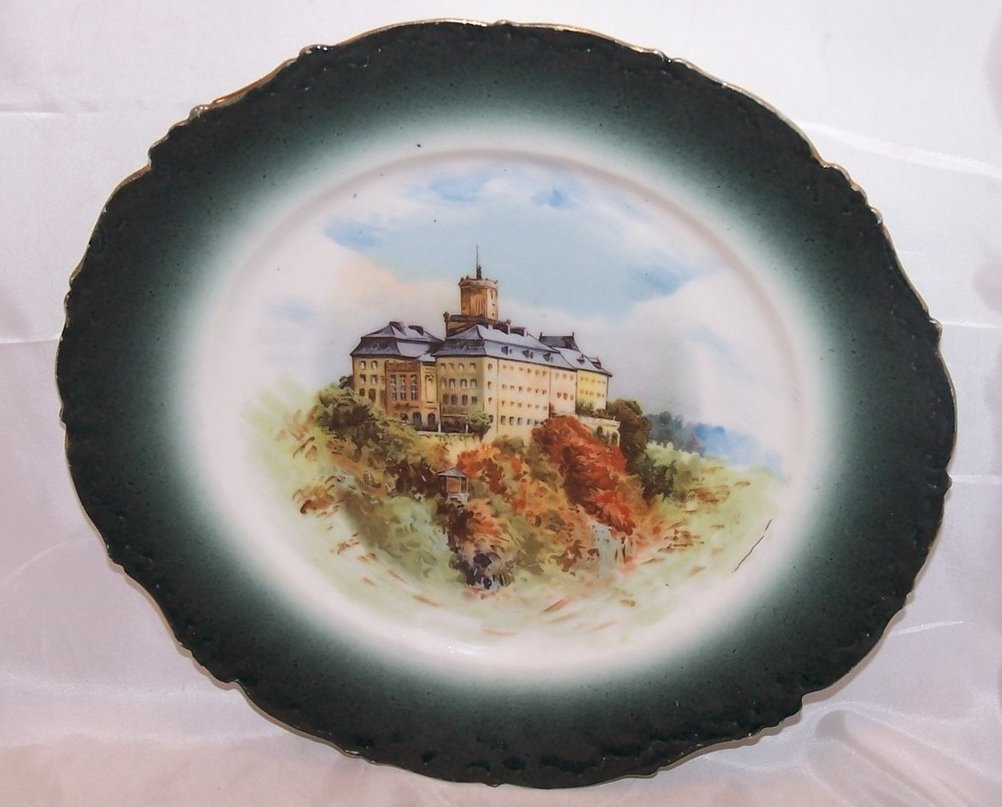 Elite France Castle Plate, Limoges Porcelain, c 1896 to 1920