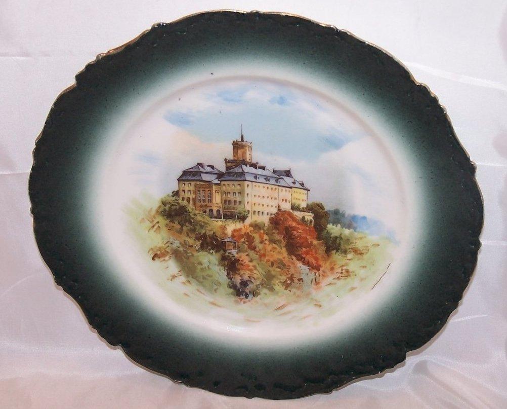 Elite France Castle Plate, Limoges Porcelain, c 1896 to 1920