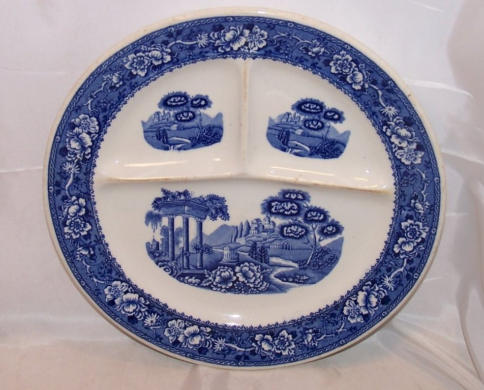 Warwick Tudor Rose Divided Grill Plate Blue Blurred Design