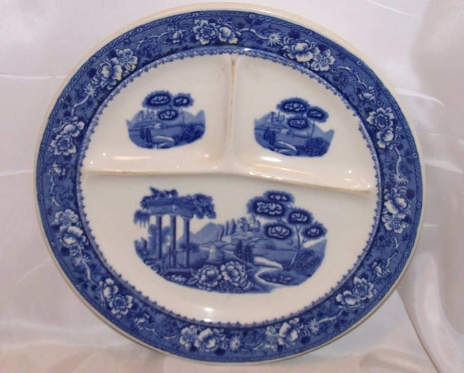 Image 0 of Warwick Tudor Rose Divided Grill Plate Blue Blurred Design