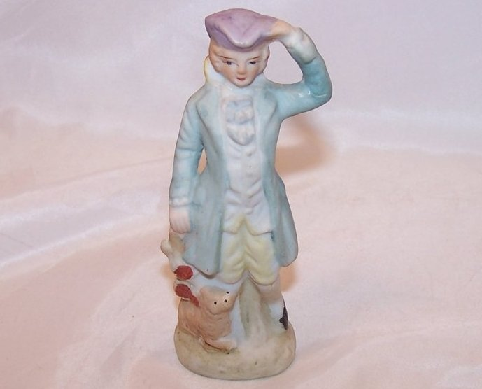 Colonial Man and Dog Figurine, Occupied Japan Japanese