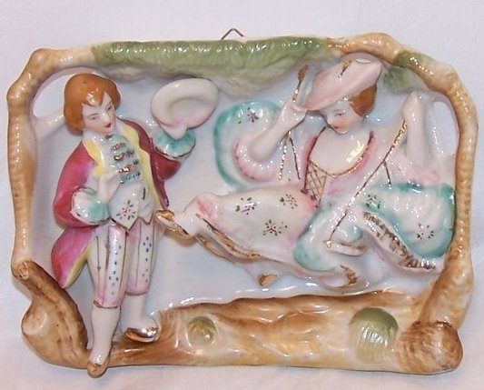 Image 0 of Lady on Swing, Miniature Victorian Scene, Sculpted Porcelain