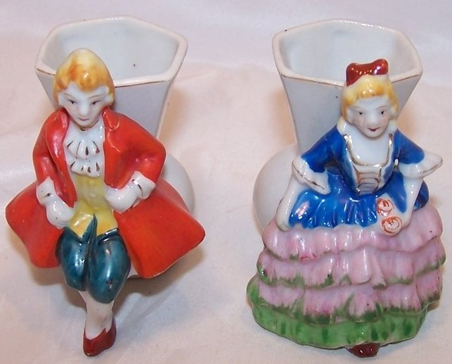 Matching Vase Set, Victorian Lady and Man, Occupied Japan