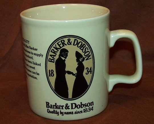 Barker and Dobson Candy Company Advertising Cup Mug, England
