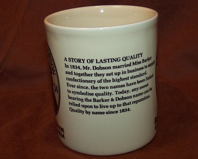 Image 3 of Barker and Dobson Candy Company Advertising Cup Mug, England