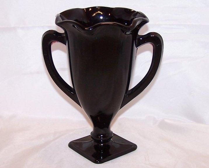 Black Amethyst Glass Loving Cup Vase With Design Vintage