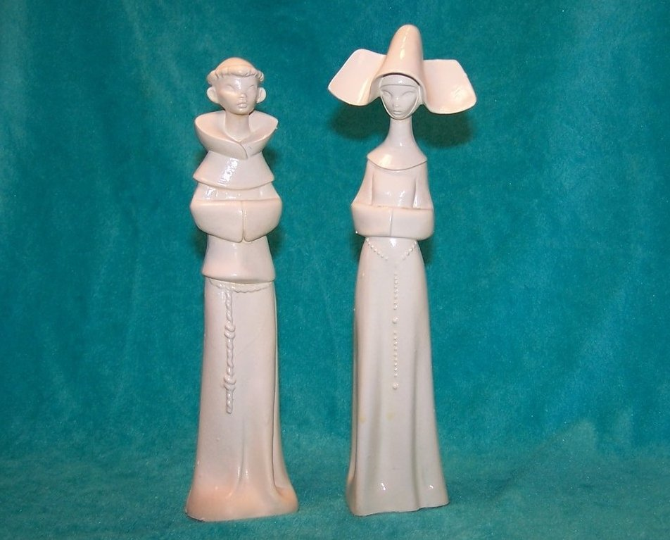 Depose Fontanini Nun and Monk Figurines, Italy, Spider Mark