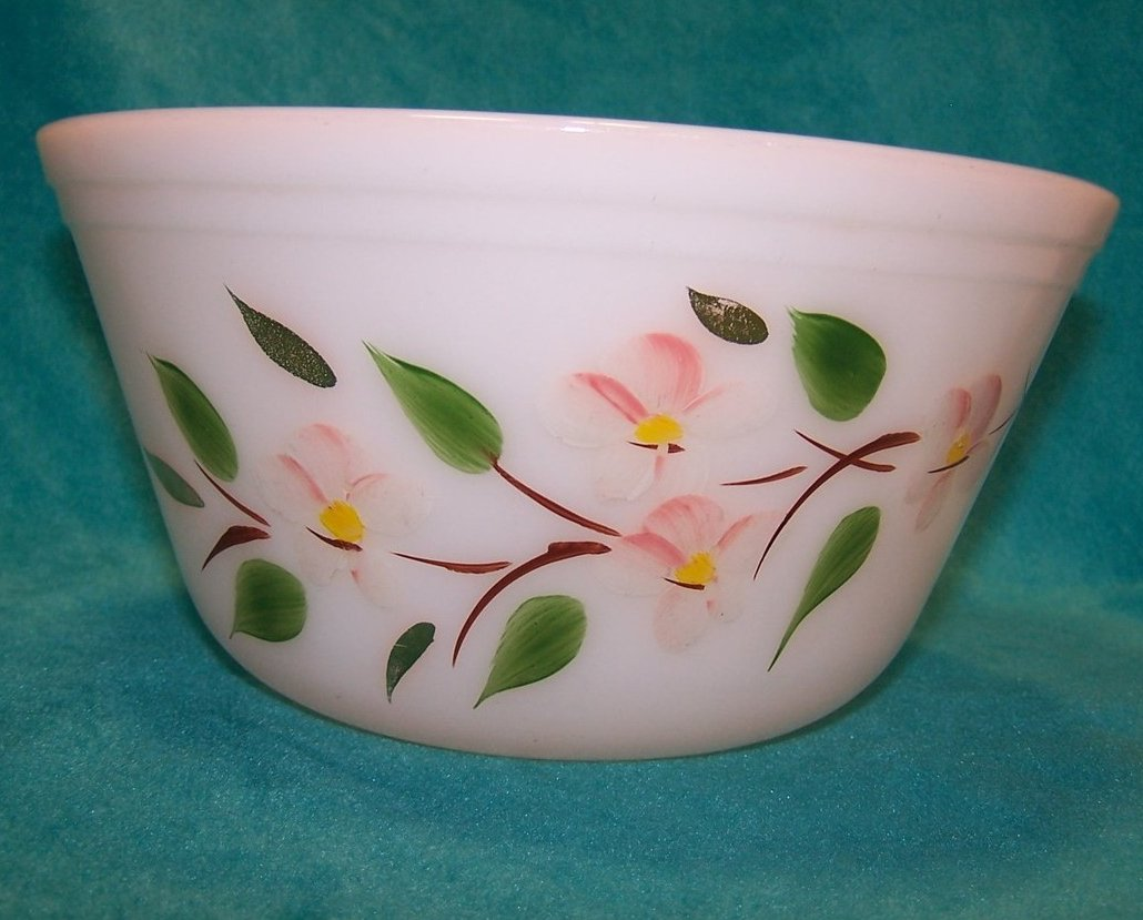 Gay Fad Fire King 8 Inch Apple Blossom Bowl, Milk Glass