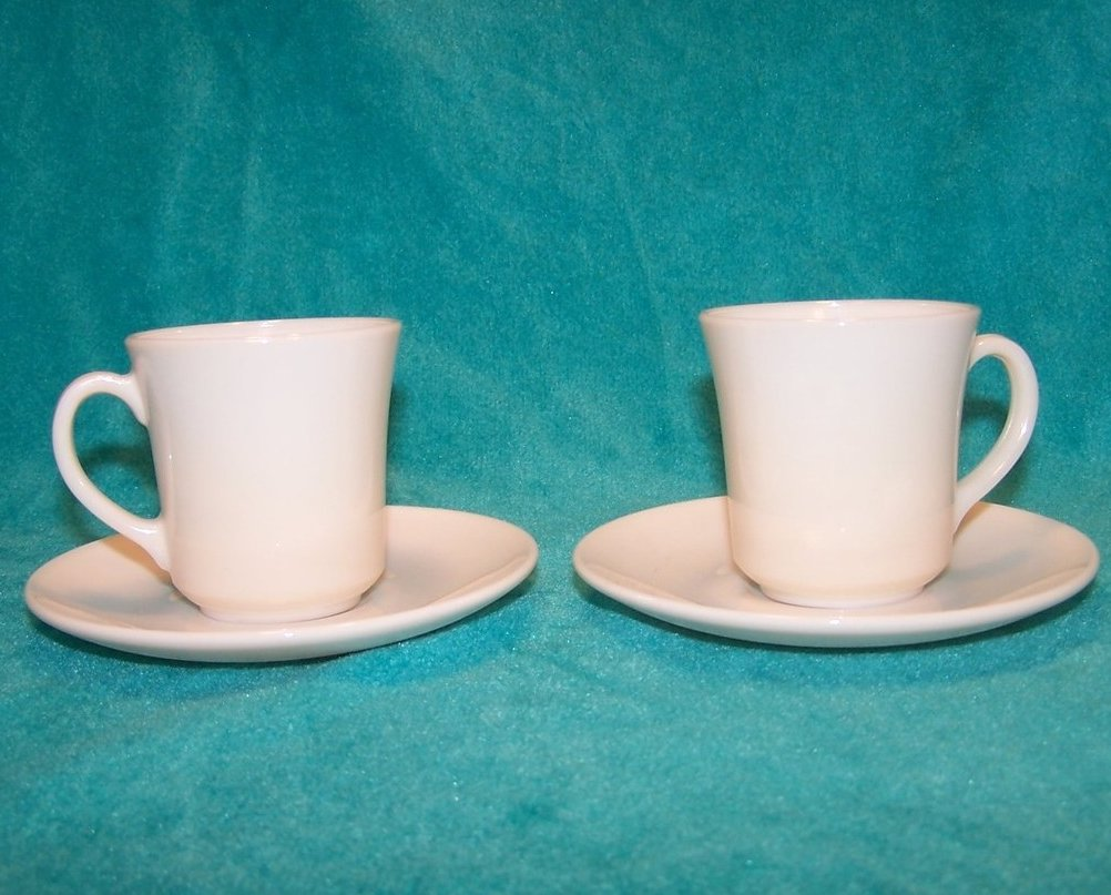 Arcopal White Demitasse Cup Saucer Sets, 2 Cups, 2 Saucers
