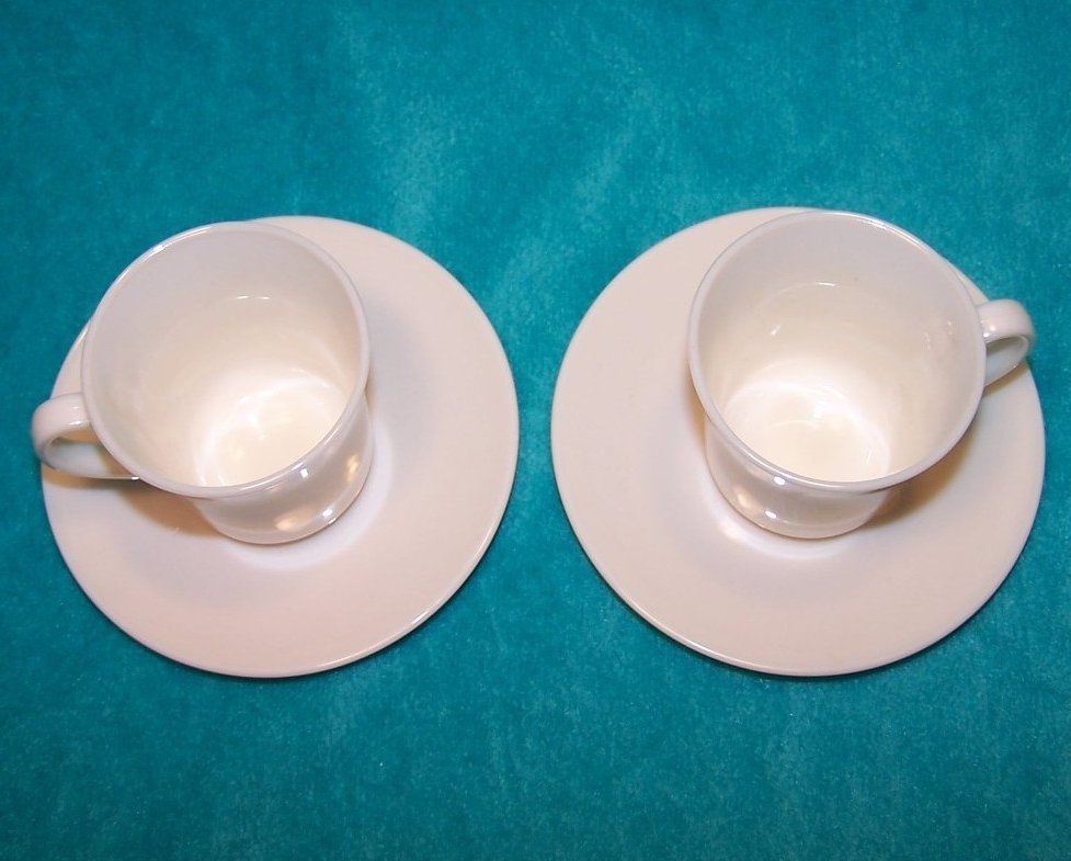 Image 1 of Arcopal White Demitasse Cup Saucer Sets, 2 Cups, 2 Saucers