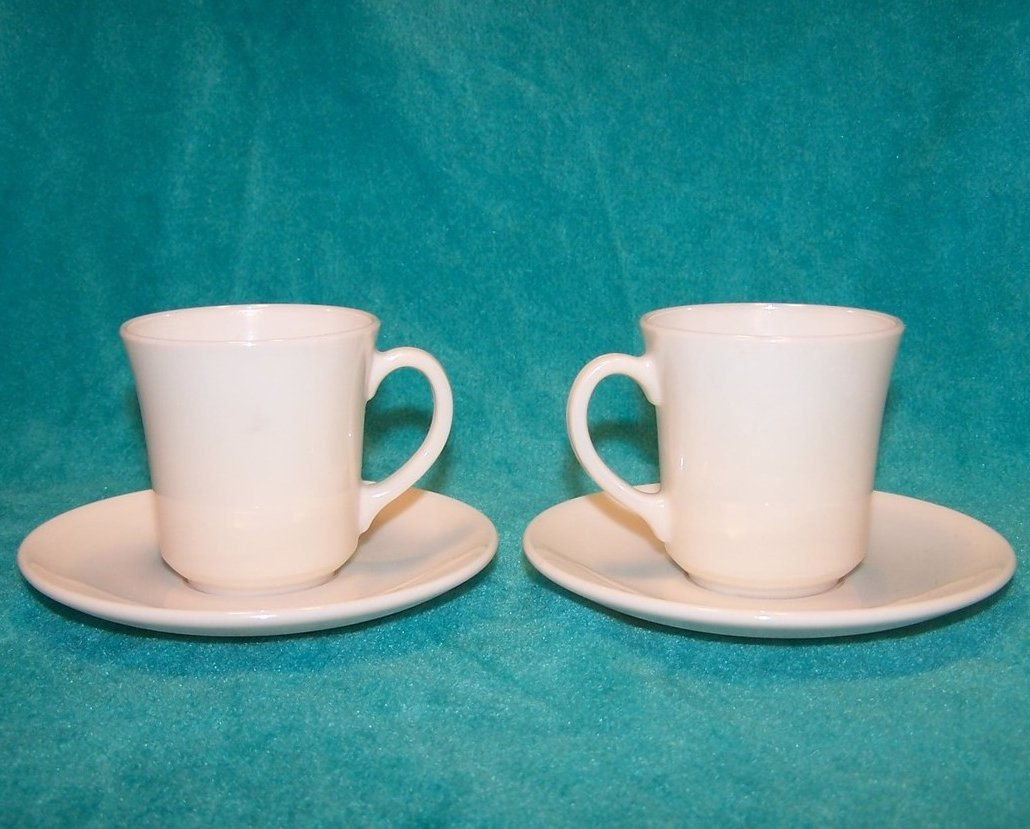 Image 2 of Arcopal White Demitasse Cup Saucer Sets, 2 Cups, 2 Saucers