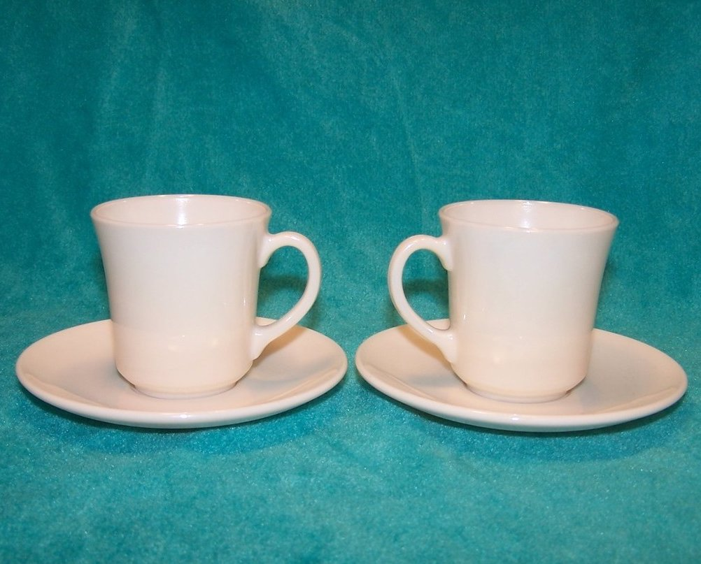 Image 3 of Arcopal White Demitasse Cup Saucer Sets, 2 Cups, 2 Saucers