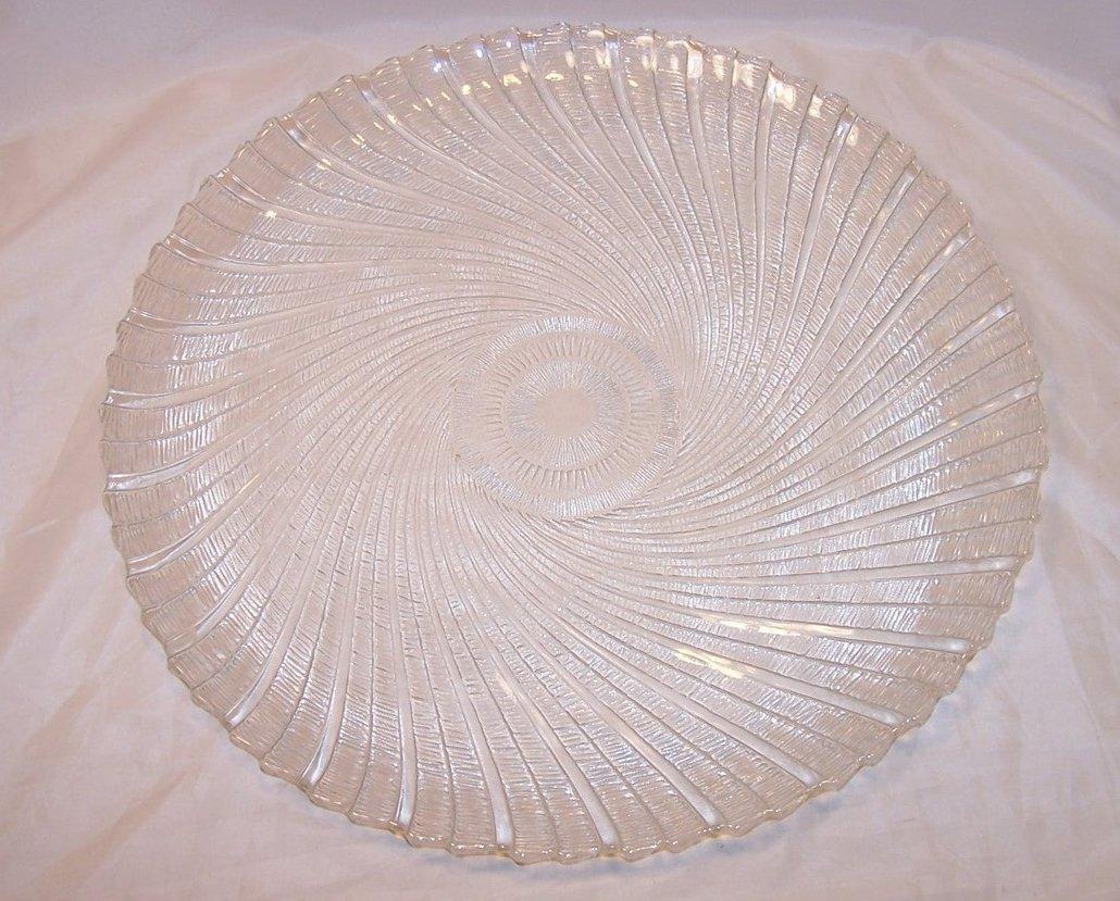 Seabreeze Crystal Platter, Arcoroc, J G Durand, Original Box