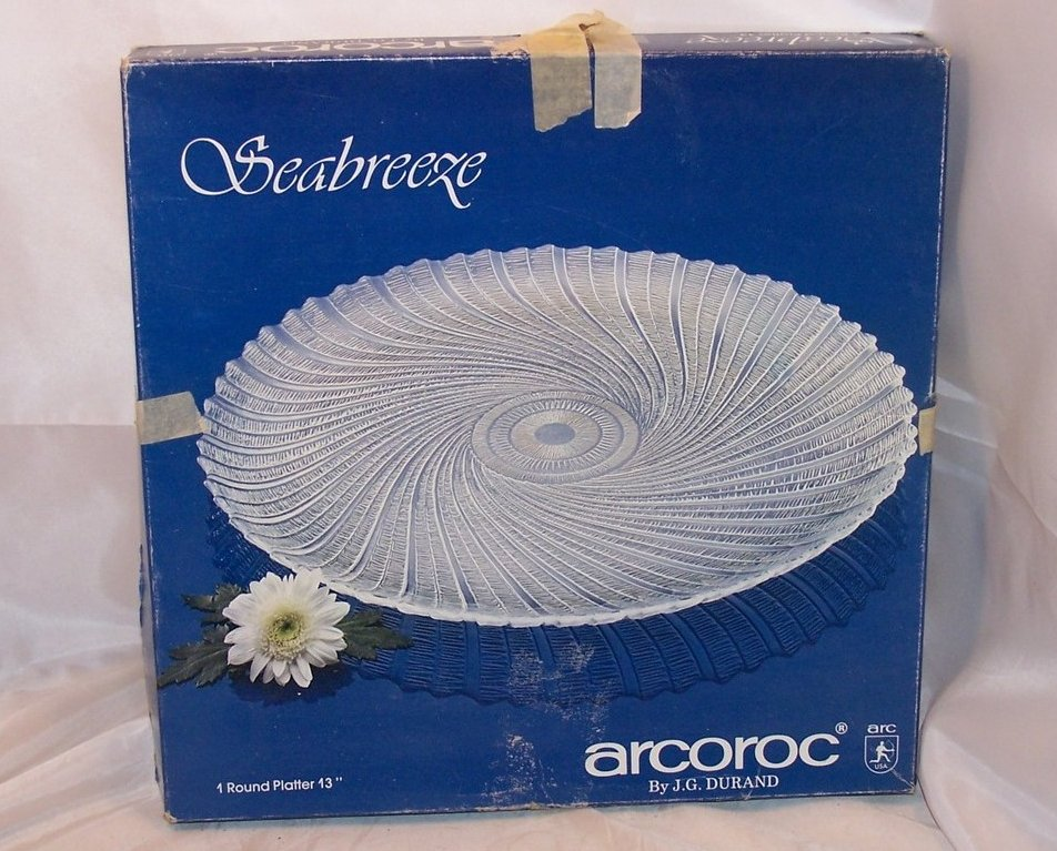 Image 4 of Seabreeze Crystal Platter, Arcoroc, J G Durand, Original Box