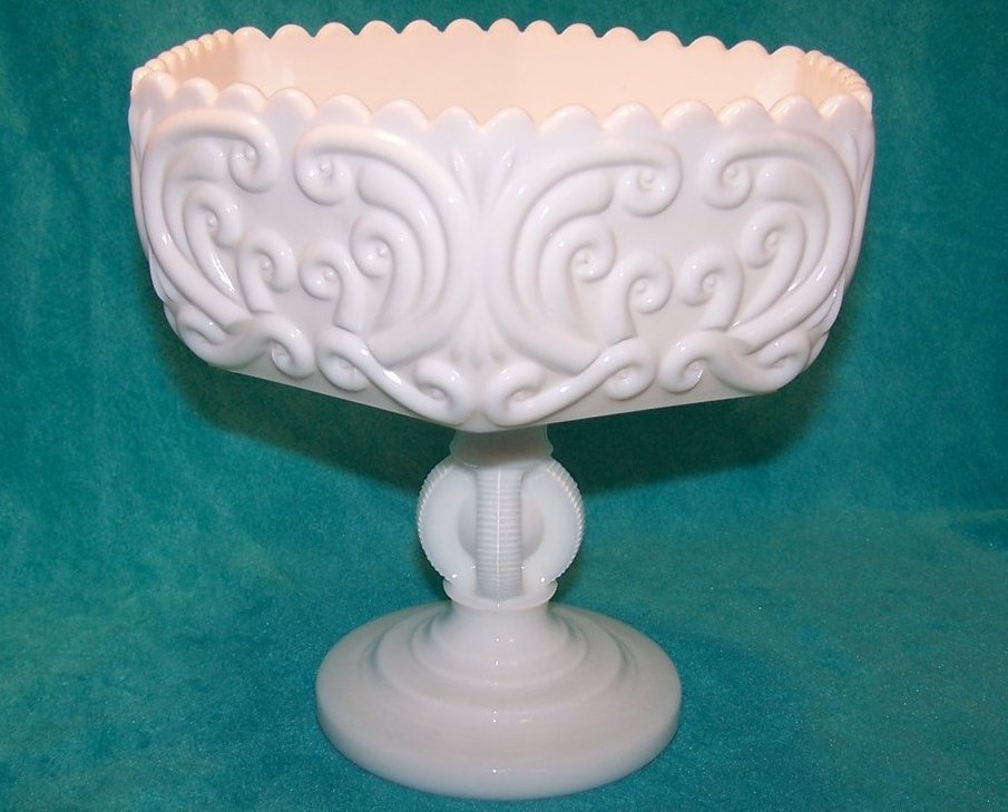 Atterbury Scroll Milk Glass 6 Panel Pedestal Dish, Compote