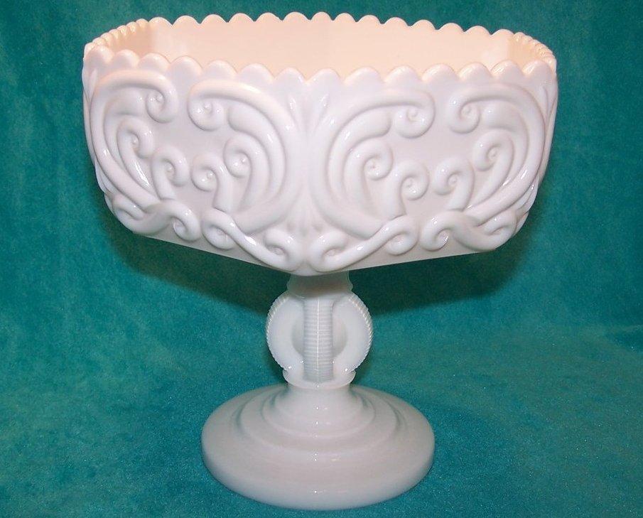 Atterbury Scroll Milk Glass 6 Panel Pedestal Dish, Compote