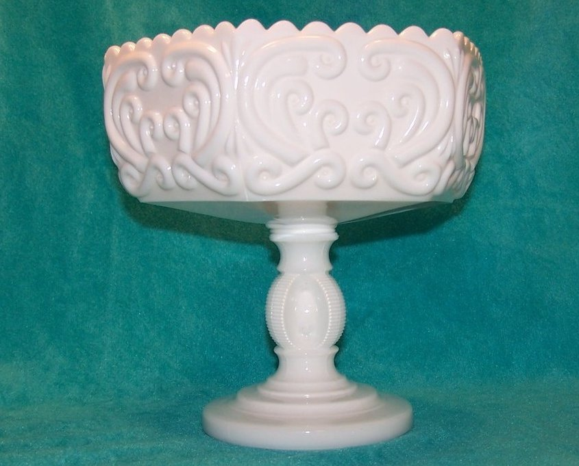 Image 1 of Atterbury Scroll Milk Glass 6 Panel Pedestal Dish, Compote