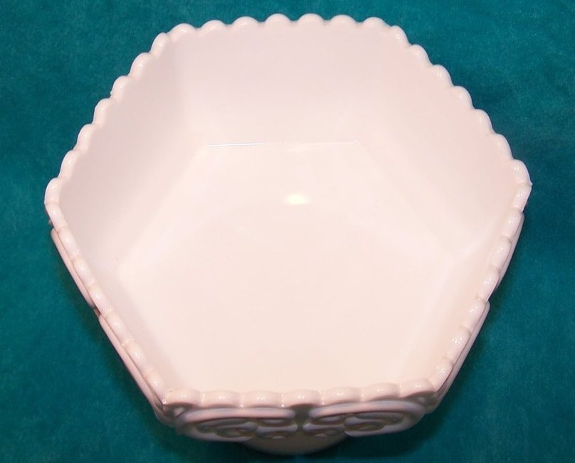 Image 2 of Atterbury Scroll Milk Glass 6 Panel Pedestal Dish, Compote