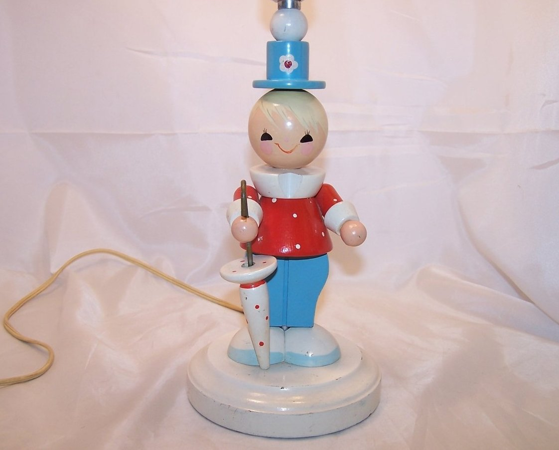 Classic Vintage Wooden Wood Doll Lamp, Nursery Lamp, Works