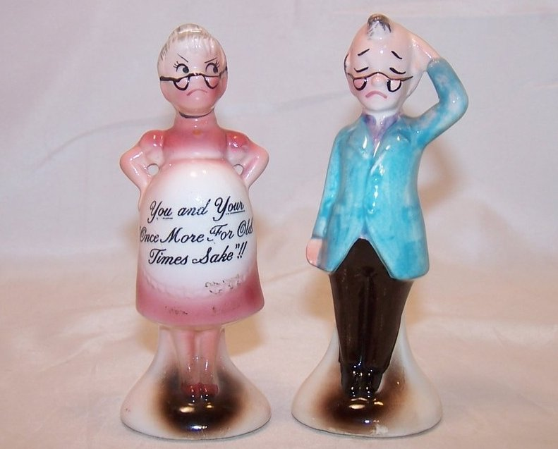 For Old Times Pregnant Couple Salt and Pepper Shakers Shaker