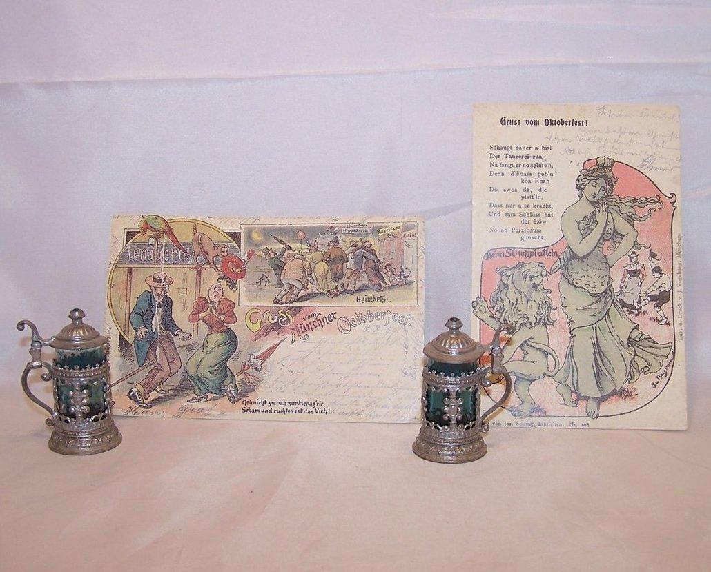 Oktoberfest Set w Miniature Beer Steins, Vintage Postcards