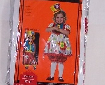 Clown Costume w Makeup Kit, Sz 3T, 4T Girl New