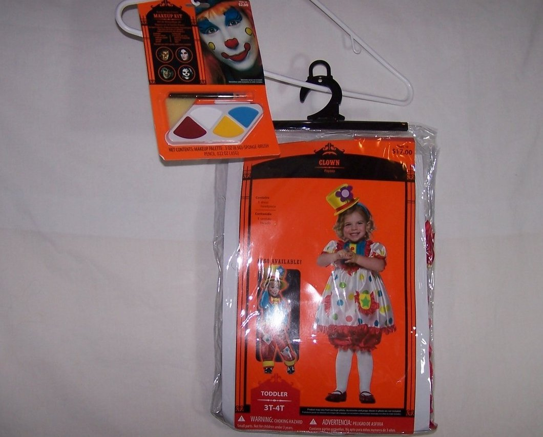 Image 1 of Clown Costume w Makeup Kit, Sz 3T, 4T Girl New