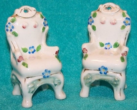 Occupied Japan Mini Forget Me Not Flower Victorian Chairs