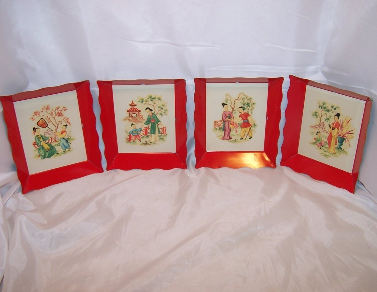 Image 0 of Chinese Picture Tray Trays Set of 4 Life Scenes