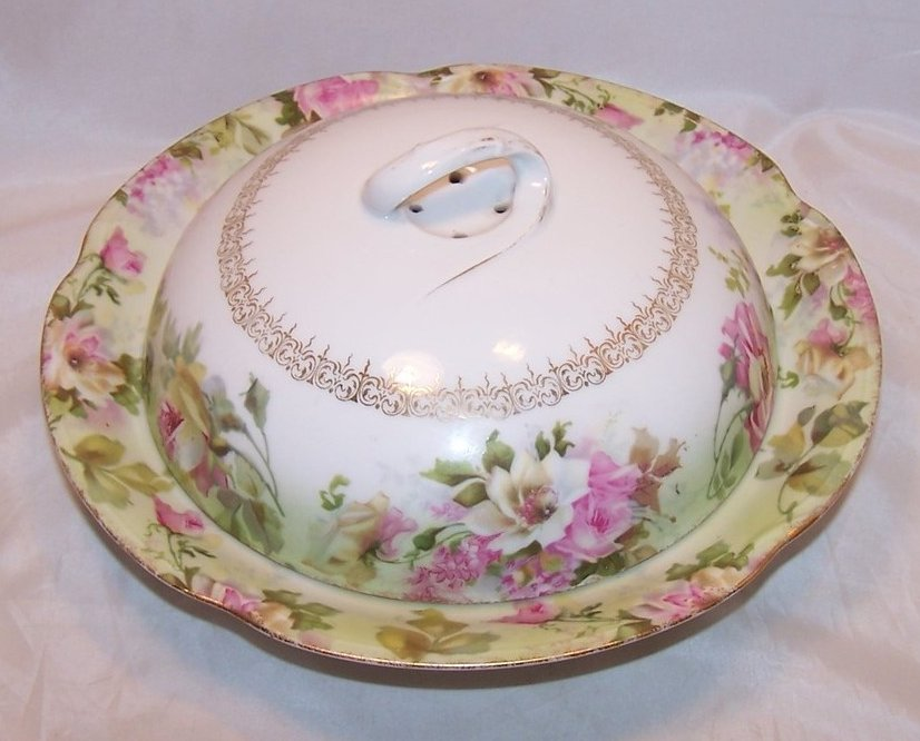 Jaeger and Company Floral Vegetable Bowl with Lid, 1902