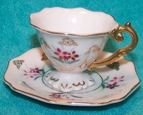 Miniature Ornate Teacup Cup w Tiny Purple Flowers, Saucer