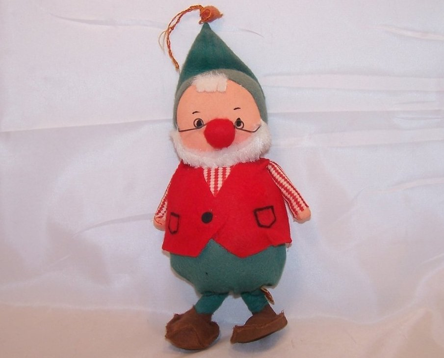 Vintage Christmas Elf Dwarf, Fun Farm, Faded