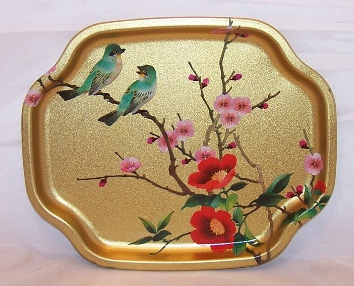 Gold Tray w Chattering Birds, Flowers, Elite Trays, England