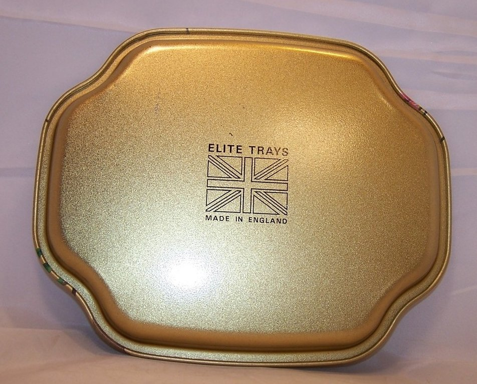 Image 1 of Gold Tray w Chattering Birds, Flowers, Elite Trays, England