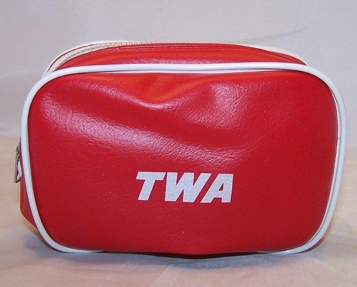 TWA Airline Mini Travel Case w Supplies, Vintage Authentic