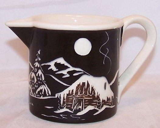 Mugs and Jugs Winter Scene Pitcher, Creamer, Anchor Point Alaska, Artist Signed