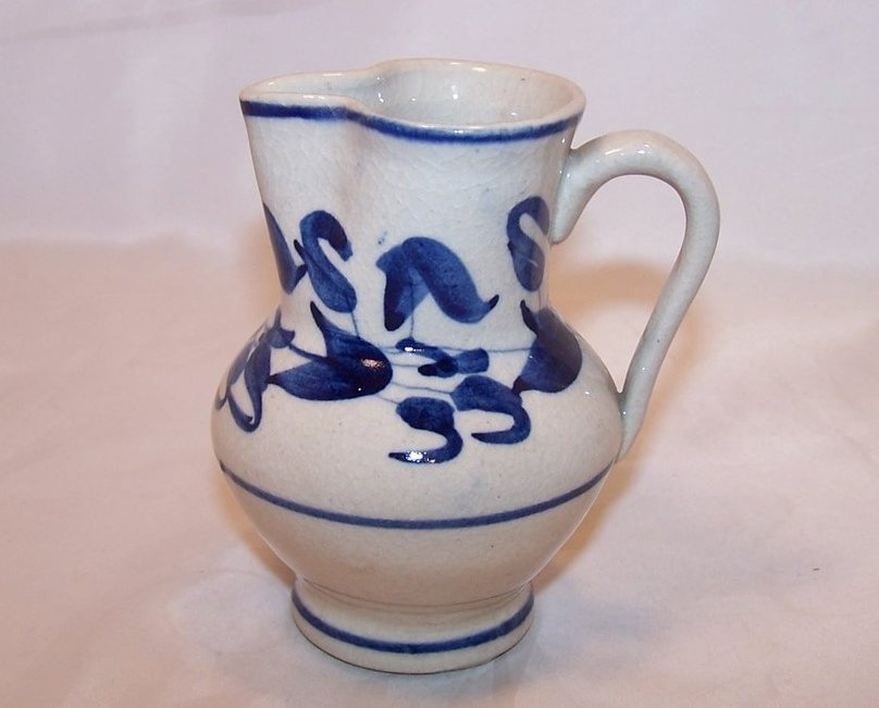 Hand Pinch Pottery Creamer, White, with Blue Flowers and Leaves