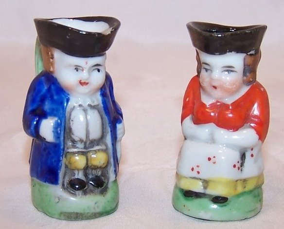 Toby Creamers,  Woman and Man Pair, Japan, Miniature