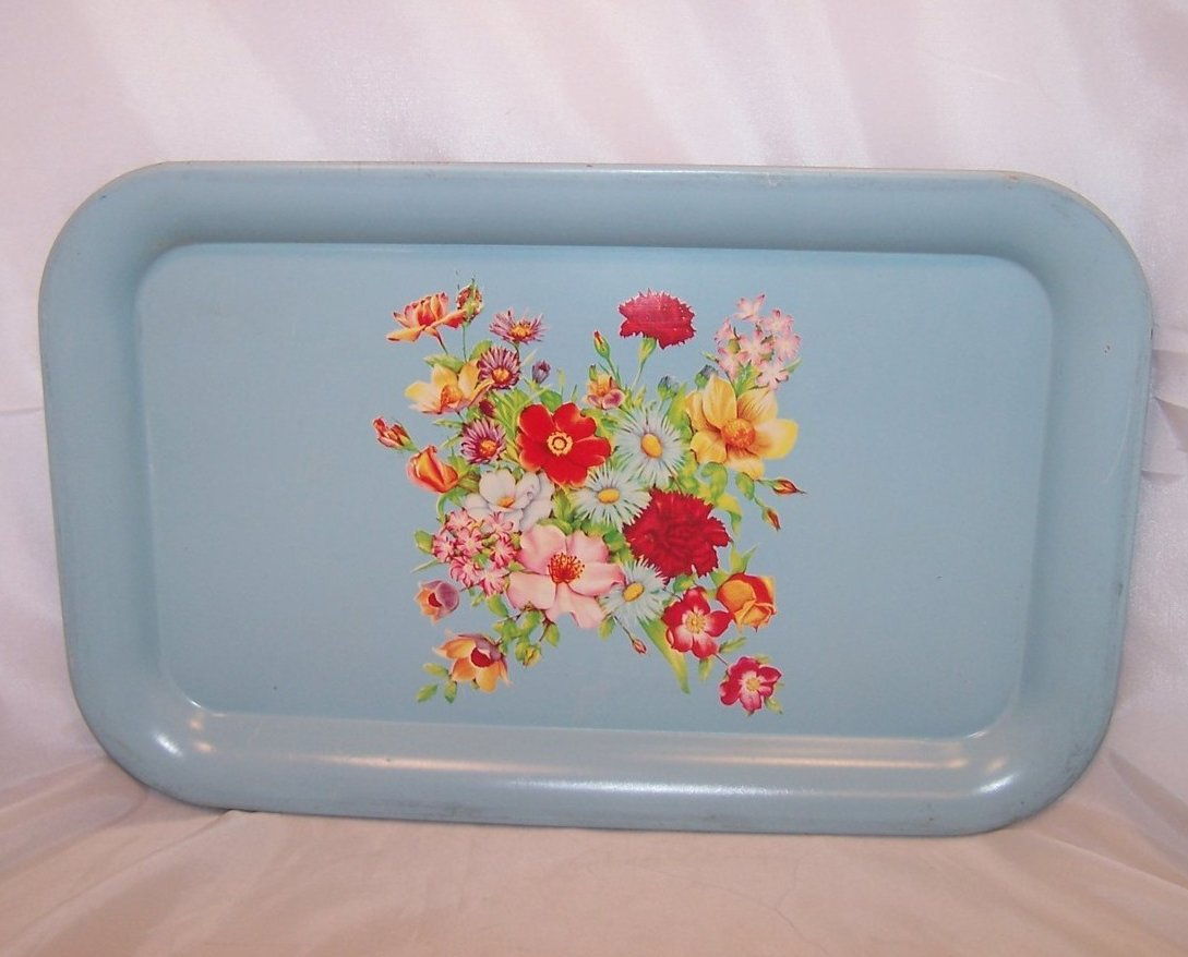 Vintage Blue Metal Tray with Flower Bouquet, Floral, Carnations, Daisies, Roses
