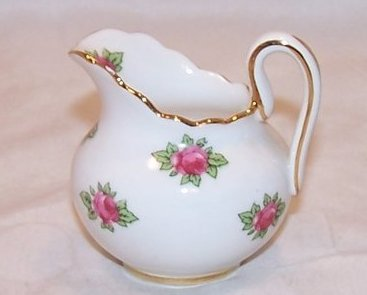 Royal Chelsea Individual Creamer, White with Roses, Bone China