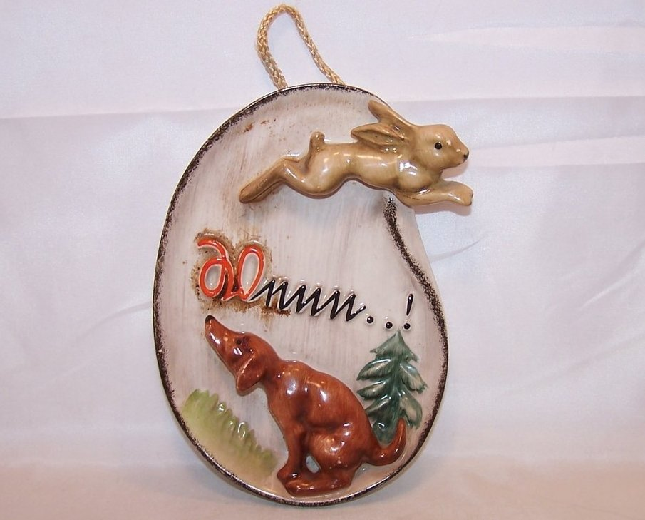 Goebel Howling Hunting Hound and Running Rabbit Plaque Wall Hanging, 1956, WX88