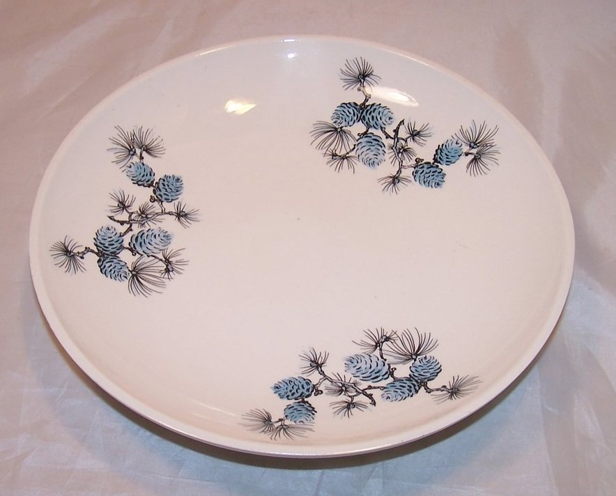 Blue Pinecone Shallow Bowl, Plate Vintage Holland