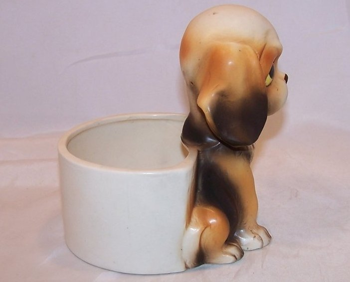 Image 3 of Pouting Puppy Planter, Beagle Dog, Lefton