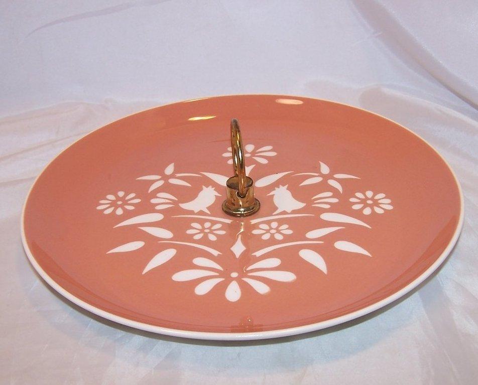 Image 1 of Harker Ware Harkerware Art Pottery Serving Plate, Glaze Cutouts, USA