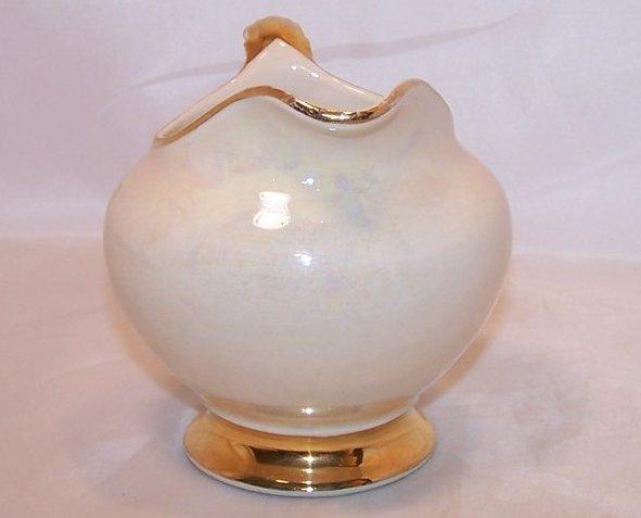 Image 3 of Gold Creamer, Iridescent Ivory with Gold 22 Karat