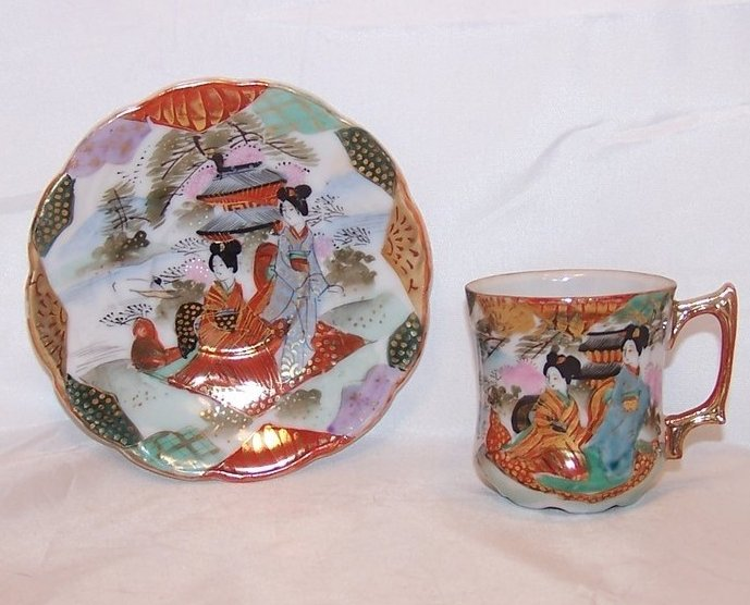 Demitasse Cup and Saucer, Ornate and Stunning, Japan Japanese